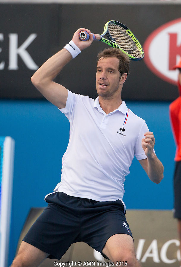 Richard Gasquet (FRA)<br /> <br /> Tennis - Australian Open 2015 - Grand Slam -  Melbourne Park - Melbourne - Victoria - Australia  - 23 January 2015. <br /> &copy; AMN IMAGES