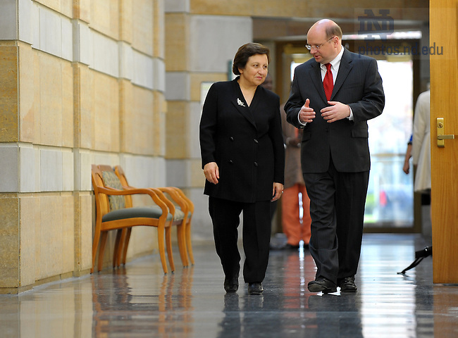 Nobel Peace Prize winner Shirin Ebadi walks with Kroc Institute director Scott Appleby during a visit to campus to give a talk...Photo by Matt Cashore/University of Notre Dame