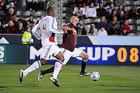 25 October 08: Rapids forward Conor Casey (in red) races against Real Salt Lake defender Jameson Olave. Real Salt Lake tied the Colroado Rapids at Dick's Sporting Goods Park in Commerce City, Colorado. The tie advanced Real Salt Lake to the playoffs.