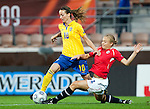 Kosovare Asllani, Toril Akerhaugen, QF, Sweden-Norway, Women's EURO 2009 in Finland, 09042009, Helsinki Football Stadium.
