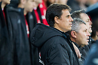 Wales manager Chris Coleman sings the national anthem ahead of the International Friendly match between Wales and Panama at the Cardiff City Stadium, Cardiff, Wales on 14 November 2017. Photo by Mark Hawkins.