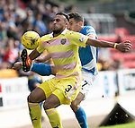 St Johnstone v Hearts&hellip;17.09.16.. McDiarmid Park  SPFL<br />Faycal Rherras is tackled by Michael Coulson<br />Picture by Graeme Hart.<br />Copyright Perthshire Picture Agency<br />Tel: 01738 623350  Mobile: 07990 594431
