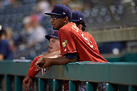 State College Spikes pitcher Franyel Casadilla (54) in the dugout during a game against the West Virginia Black Bears on August 30, 2018 at Medlar Field at Lubrano Park in State College, Pennsylvania.  West Virginia defeated State College 5-3.  (Mike Janes/Four Seam Images)