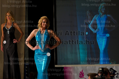 Vivien Meszaros attends the Miss Hungary 2010 beauty contest held in Budapest, Hungary on November 29, 2010. ATTILA VOLGYI