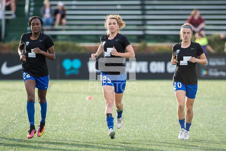 Boston, MA - Saturday April 29, 2017: Ifeoma Onumonu, Morgan Andrews and Christen Westphal during warmups before a regular season National Women's Soccer League (NWSL) match between the Boston Breakers and Seattle Reign FC at Jordan Field.