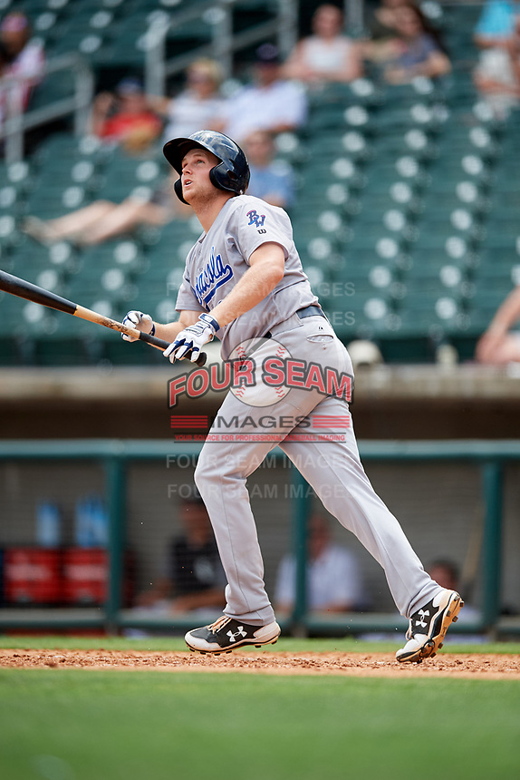 Pensacola Blue Wahoos first baseman Gavin LaValley (25) hits a home run in the top of the seventh inning during a game against the Birmingham Barons on May 9, 2018 at Regions Field in Birmingham, Alabama.  Birmingham defeated Pensacola 16-3.  (Mike Janes/Four Seam Images)