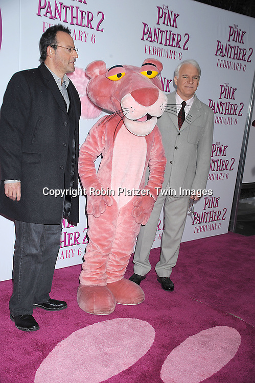 "Jean Reno, The Pink Panther and Steve Martin..posing for photographers at The World Premiere of ""The Pink Panther 2 staring Steve Martin, Jean Reno, Emily Mortimer, Andy Garcia and Aishwarya Rai Bachchan on ..February 3, 2009 at The Ziegfeld Theatre in New York City. ....Robin Platzer, Twin Images"