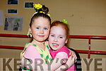 Annalise Breen and Aria Smith give each other a big hug before they go on stage in the Kerry School of Music's Ballet Spectacular show in Siamsa Tire on Sunday afternoon last.