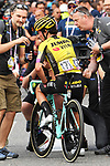 Primoz Roglic (SLO) Team Jumbo-Visma luck to escape with minor cuts and bruises after crashing into the barrier on the descent into Como near the end of Stage 15 of the 2019 Giro d'Italia, running 232km from Ivrea to Como, Italy. 26th May 2019<br /> Picture: Gian Mattia D'Alberto/LaPresse | Cyclefile<br /> <br /> All photos usage must carry mandatory copyright credit (© Cyclefile | Gian Mattia D'Alberto/LaPresse)