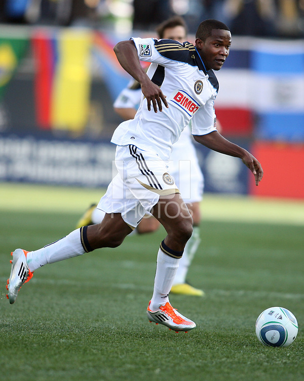 Danny Mwanga#10 of the Philadelphia Union during an MLS match against the Vancouver Whitecaps at PPL Park in Chester, PA. on March 26 2011.Union won 1-0.