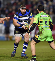 Henry Thomas of Bath Rugby in possession. Aviva Premiership match, between Bath Rugby and Northampton Saints on February 9, 2018 at the Recreation Ground in Bath, England. Photo by: Patrick Khachfe / Onside Images
