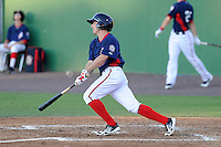 Left fielder Billy Burns (9) of the Potomac Nationals bats in a game against the Carolina Mudcats on Friday, June 21, 2013, at G. Richard Pfitzner Stadium in Woodbridge, Virginia. Potomac won, 5-1. (Tom Priddy/Four Seam Images)