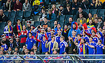 Solna 2014-10-12 Fotboll EM-kval , Sverige - Liechtenstein :  <br /> Liechtensteins supportrar under matchen mellan Sverige och Liechtenstein <br /> (Photo: Kenta J&ouml;nsson) Keywords:  Sweden Sverige Friends Arena EM Kval EM-kval UEFA Euro European 2016 Qualifying Group Grupp G Liechtenstein supporter fans publik supporters