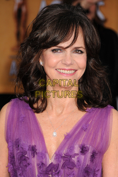 Sally Field.Arrivals at the 19th Annual Screen Actors Guild Awards at the Shrine Auditorium in Los Angeles, California, USA..27th January 2013.SAG SAGs headshot portrait smiling purple sleeveless sheer .CAP/ADM/BP.©Byron Purvis/AdMedia/Capital Pictures