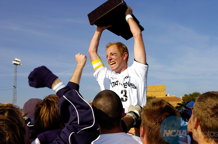 04 DEC 2005:  Bryan Eisenbraun (3) of Fort Lewis and his teammates celebrate their victory over Franklin Pierce following the Men's Division II Soccer Championship held on the Campus of Midwestern State University in Wichita Falls, TX. Fort Lewis defeated Franklin Pierce 3-1 to win the national title. Stephen Nowland/NCAA Photos