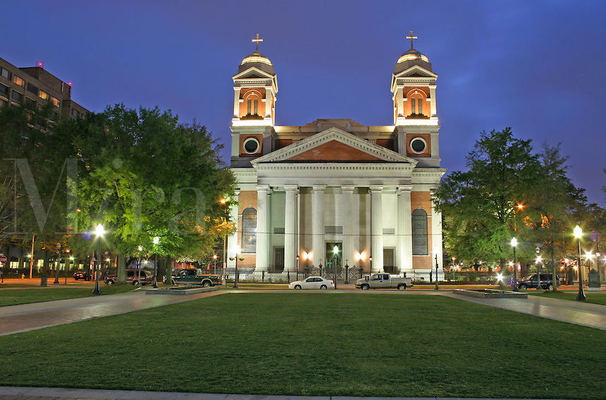 Evening lighting Cathedral of the Immaculate Conception Mobile Alabama