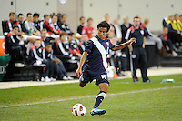 Nico Melo (8) of the USA. The USMNT U-17 defeated New York Red Bulls U-18 4-1 during a friendly at Red Bull Arena in Harrison, NJ, on October 09, 2010.