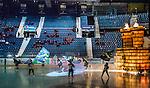 Stockholm 2014-10-02 Ishockey Hockeyallsvenskan AIK - BIK Karlskoga :  <br /> AIK:s spelare g&ouml;r entr&eacute; p&aring; isen under ett intro inf&ouml;r matchen mellan AIK och BIK Karlskoga med publik och tomma stolar i Hovet<br /> (Foto: Kenta J&ouml;nsson) Nyckelord:  AIK Gnaget Hockeyallsvenskan Allsvenskan Hovet Johanneshovs Isstadion Bofors BIK Karlskoga inomhus interi&ouml;r interior supporter fans publik supporters intro