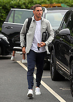 Pictured: Angel Rangel arrives Monday 04 July 2016<br /> Re: Swansea City FC players at the Landore training ground, return for this season's preparation.