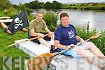 Pirates Aidan Spillane front and Harm Duikstra at the Astella's raft race in Killrglin on Friday ..