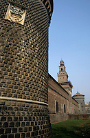 Stone walled exterior of Castello Sforzesco, Milan, Italy.