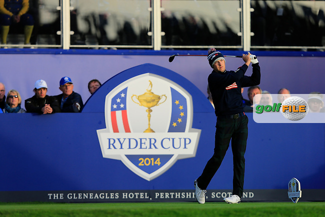 Jordan Speith (USA) on the 1st tee during the Saturday Fourball Matches of the Ryder Cup at Gleneagles Golf Club on Saturday 27th September 2014.<br /> Picture:  Thos Caffrey / www.golffile.ie