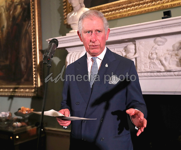 14 December 2016 - Prince Charles, Prince of Wales gives a speech at the Style for Soldiers Christmas Reunion Party at Spencer House in London. The Prince of Wales met injured servicemen and women who have been helped by the charity, and others who have supported them. His Royal Highness will also meet some of the charity's patrons and ambassadors. Photo Credit: Alpha Press/AdMedia