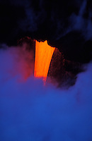 Molten lava pours into the sea off the coast of the Big Island of Hawaii.
