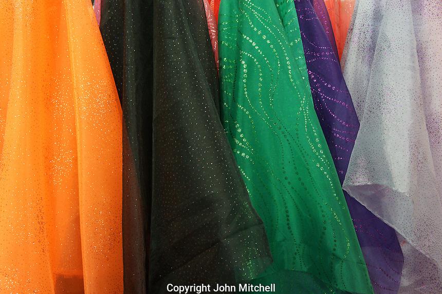 Colorful fabric for sale in Merida, Yucatan, Mexico.