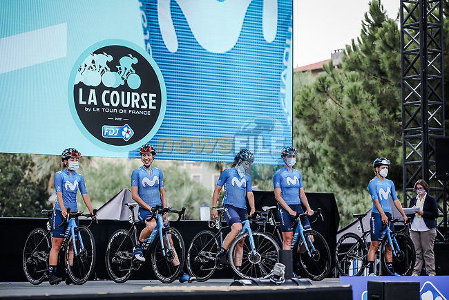 Movistar Team Women at the presentation before the start of La Course By Le Tour de France 2020, running 96km from Nice to Nice, France. 29th August 2020.<br /> Picture: ASO/Thomas Maheux | Cyclefile<br /> All photos usage must carry mandatory copyright credit (© Cyclefile | ASO/Thomas Maheux)