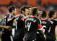 D.C. United defender Dejan Jakovic (8) celebrates his score in the 64th minute of the game.  D.C. United defeated Chivas USA 1-0 at RFK Stadium, Sunday September 23, 2012.