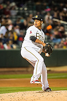 Atahualpa Severino (18) of the Salt Lake Bees during the game against the Sacramento River Cats in Pacific Coast League action at Smith's Ballpark on April 17, 2015 in Salt Lake City, Utah.  (Stephen Smith/Four Seam Images)