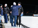 Uppsala 2015-03-10 Bandy Elitseriekval IK Sirius - Falu BS :  <br /> Sirius tr&auml;nare Thony Lindquist omfamnas av en arenav&auml;rd efter matchen mellan IK Sirius och Falu BS <br /> (Foto: Kenta J&ouml;nsson) Nyckelord:  Bandy Elitserien Elitseriekval Kval Kvalserien Uppsala Studenternas IP IK Sirius IKS Falun Falu BS tr&auml;nare manager coach glad gl&auml;dje lycka leende ler le