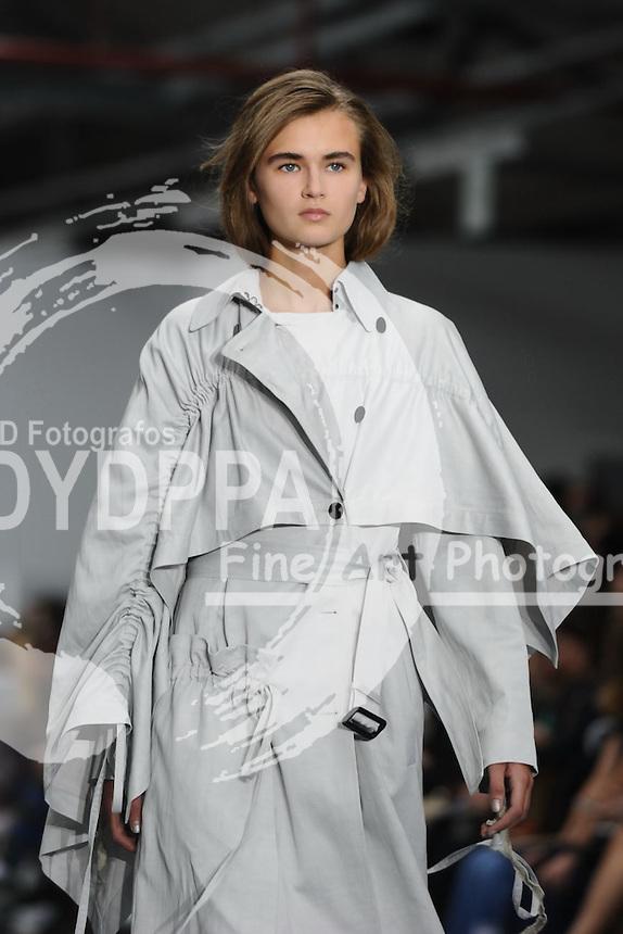 models on the catwalk at the Eudon Choi fashion show for London Fashion Week SS16, Soho, London<br /> <br /> &copy;Ash Knotek  D3013  18/09/2015