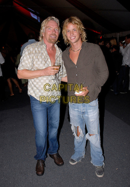 RICHARD & SAM BRANSON.In Jamaica..July 4th, 2006.Ref: FIN.full length father son family jeans denim .www.capitalpictures.com.sales@capitalpictures.com.© Capital Pictures.