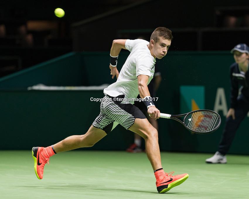 ABN AMRO World Tennis Tournament, Rotterdam, The Netherlands, 14 februari, 2017, Borna Coric (CRO)<br /> Photo: Henk Koster