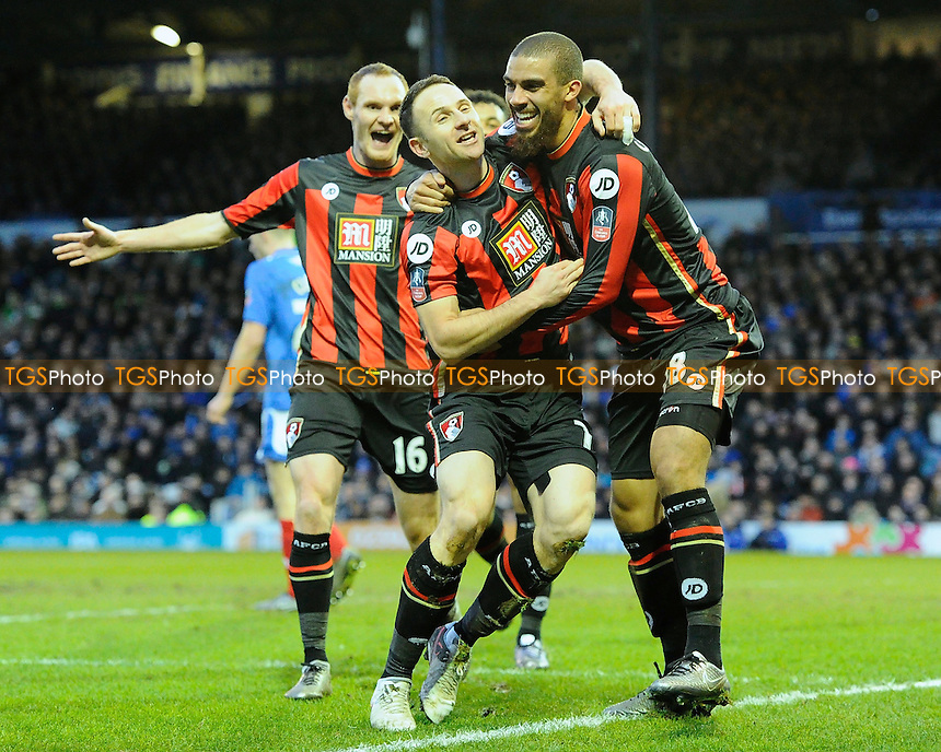 Marc Pugh of AFC Bournemouth middle celebrates his goal with Lewis Grabban of AFC Bournemouth right during Portsmouth vs AFC Bournemouth, Emirates FA Cup Football at Fratton Park