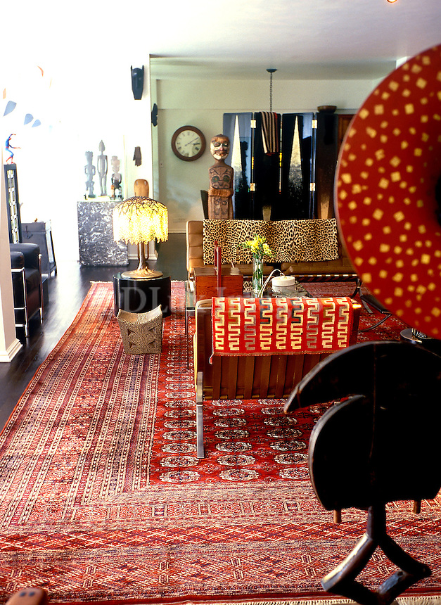 african style living room with artworks