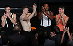 Jonno Davies, center, with the cast during the Opening Night Curtain Call bows for 'A Clockwork Orange'  at the New World Stages on September 25, 2017 in New York City.