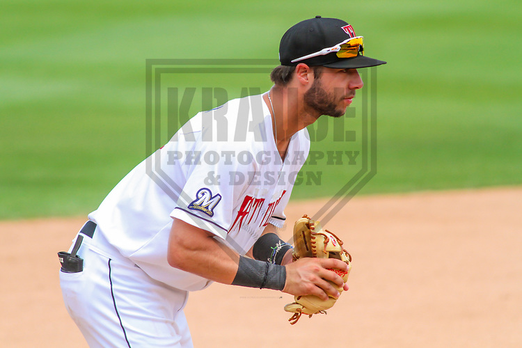 Wisconsin Timber Rattlers third baseman Weston Wilson (3) during a Midwest League game against the Burlington Bees on July 10, 2017 at Fox Cities Stadium in Appleton, Wisconsin.  Burlington defeated Wisconsin 6-3. (Brad Krause/Krause Sports Photography)