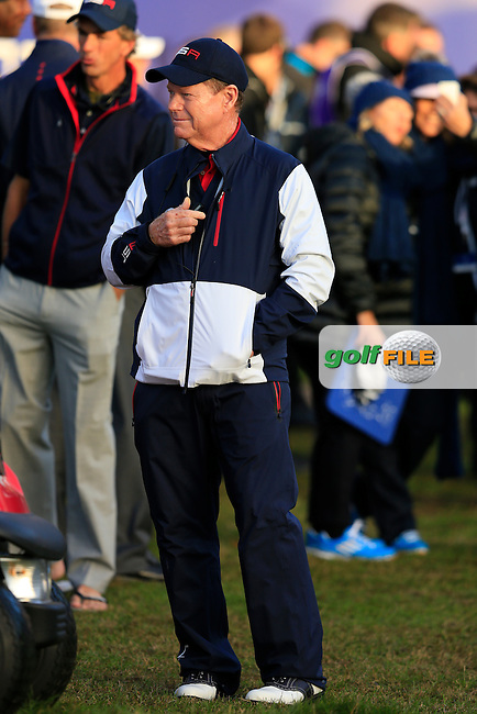 Tom Watson (USA) on the 1st tee during the Saturday Fourball Matches of the Ryder Cup at Gleneagles Golf Club on Saturday 27th September 2014.<br /> Picture:  Thos Caffrey / www.golffile.ie