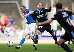 St Johnstone v Dundee...13.09.14  SPFL<br /> Gary Harkins tackles Steven Anderson<br /> Picture by Graeme Hart.<br /> Copyright Perthshire Picture Agency<br /> Tel: 01738 623350  Mobile: 07990 594431