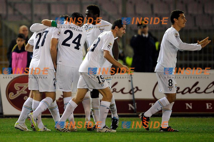 """Esultanza dopo il gol di Lorik Cana  Lazio 1-2.Goal celebration.Lecce 10/12/2011 Stadio """"Via del MAre"""".Football Calcio Serie A 2011/2012.Lecce Vs Lazio.Foto Insidefoto ."""