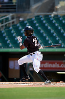 Jupiter Hammerheads right fielder Anfernee Seymour (26) follows through on a swing during a game against the Palm Beach Cardinals on August 5, 2018 at Roger Dean Chevrolet Stadium in Jupiter, Florida.  Jupiter defeated Palm Beach 3-0.  (Mike Janes/Four Seam Images)