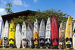 A fence made from old windsurfing surfboards, Paia, Maui, Hawaii, USA
