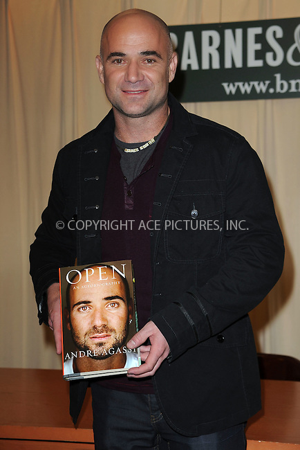 "WWW.ACEPIXS.COM . . . . . ....November 12 2009, New York City....Tennis star Andre Agassi signed copies of his autobiography, ""Open"" at the Fifth Avenue Barnes & Noble on November 12 2009 in New York City....Please byline: KRISTIN CALLAHAN - ACEPIXS.COM.. . . . . . ..Ace Pictures, Inc:  ..(212) 243-8787 or (646) 679 0430..e-mail: picturedesk@acepixs.com..web: http://www.acepixs.com"
