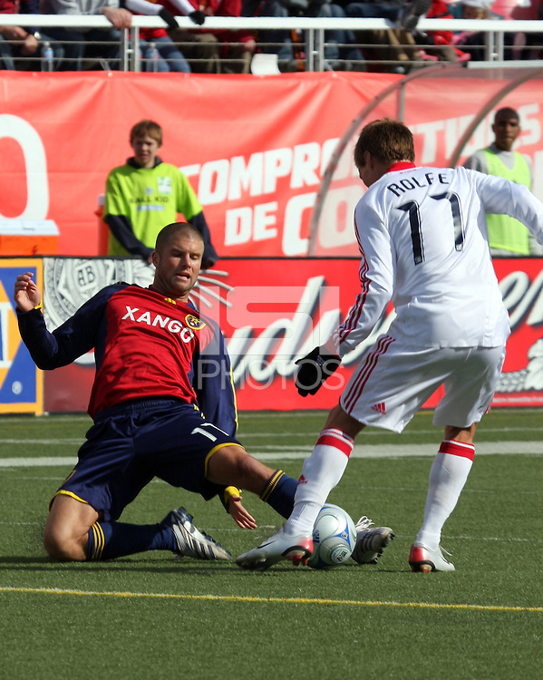 Chris Wingert #17 of Real Salt Lake and Chris Rolfe #17 of the Chicago Fire. The Chicago Fire and Real Salt Lake played to a 1-1 tie during a Major League Soccer match at Rice-Eccles Stadium in Salt Lake City, Utah on March 29, 2008.