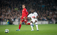Tanguy NDombele of Spurs under pressure from Philippe Coutinho (on loan from Barcelona) of Bayern Munich during the UEFA Champions League group match between Tottenham Hotspur and Bayern Munich at Wembley Stadium, London, England on 1 October 2019. Photo by Andy Rowland.