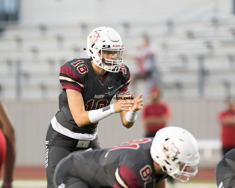 Rouse Raiders junior quarterback Ethan Moore (18) during a high school football game between the Rouse Raiders and the East View Patriots at A.C. Bible Stadium in Leander, Texas, on Friday, September 15, 2017.