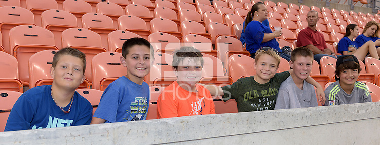 Houston, TX - Friday April 29, 2016: Houston Dash fans prior to the start of the Houston Dash versus Sky Blue FC game at BBVA Compass Stadium. The Houston Dash tied Sky Blue FC 0-0.